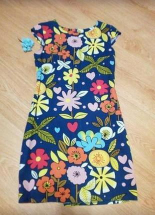 Платье в цветочный принт под лён