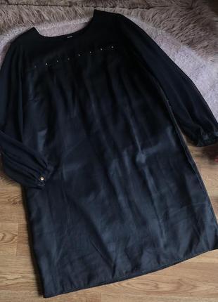 Чёрное свободное платье с нюансом (20р)4xl