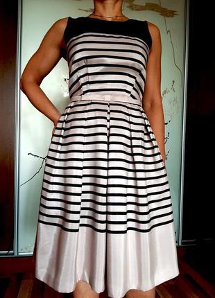 Нежное пудрово-розовое платье миди в полоску untold