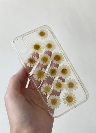 Прозрачный чехол с ромашками iphone x pull and bear1 фото