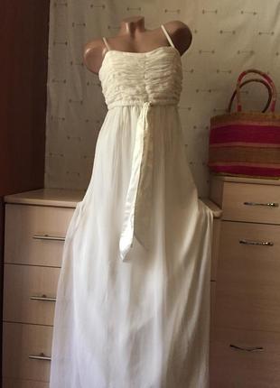 Нежный белый сарафан длинный / длинное белое нарядное платье