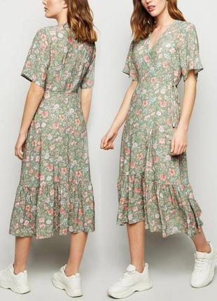 Распродажа! легкое натуральное платье new look миди на запах с оборкой с asos