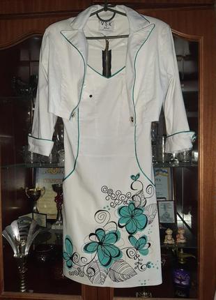 Нарядное платье  с жакетом для худенькой девушки размер s, 36