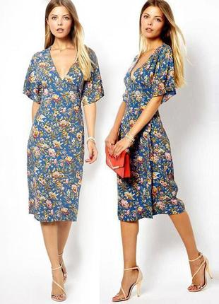 Распродажа! легкое натуральное платье asos миди с запахом и рукавами-кимоно