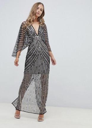 Платье-кимоно макси с пайетками asos design