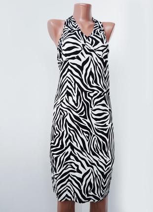 Платье сарафан , эластичное , принт зебра