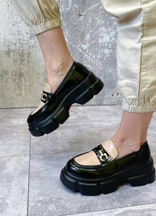 Туфли лоферы на платформе женские
