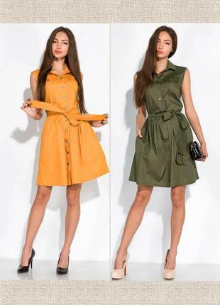 Платье-рубашка с поясом жилетка сарафан на заклепках пуговицах с пуговицами3 фото