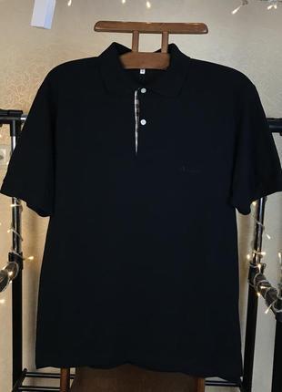 Чёрная винтажная футболка поло aquascutum сделана в италии vn1