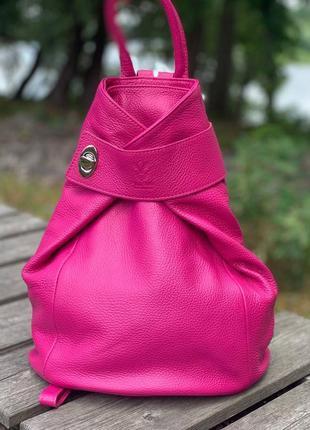 Кожаный малиновый рюкзак stella, италия, цвета в ассортименте