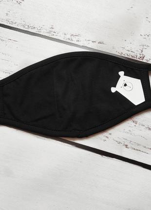 Тканевая маска с карманом для сменного фильтра мишка