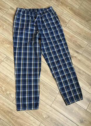 Штаны пижамные в клетку большой размер, есть карманы