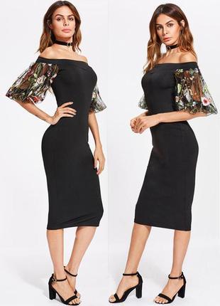 Распродажа платье shein миди с пышными рукавами с вышивкой c asos