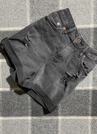 Женские джинсовые короткие шорты f&f ( эф энд эф хс-срр идеал оригинал серые)