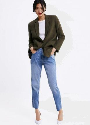 Блейзер,жакет,пиджак из льна zara 2761/043/505-acyc хаки