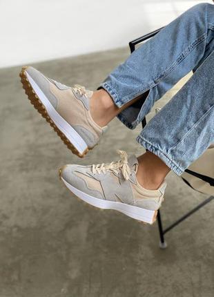 New balance 327 beige шикарные женские кроссовки нб бежевые