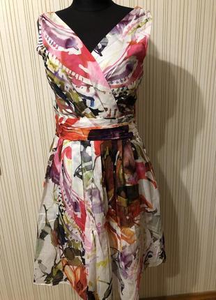 Платье миди яркое летнее цветное с рисунком акварель