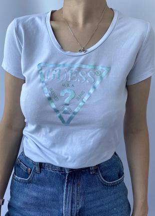 Женская футболка guess с большим лого, великим логотипом жіноча футболка