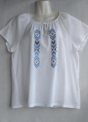 Блуза вышиванка р.l (евро р.44-46) blue motion белая кофта жатка, замеры