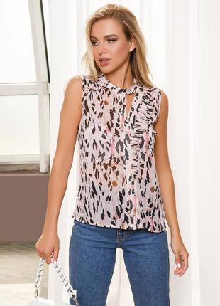 Шифоновая легкая блуза с принтом