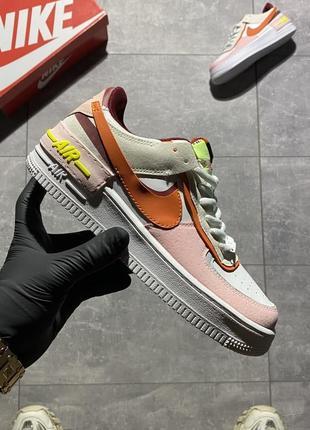 Nike air force 1 shadow🆕женские шикарные кеды-кроссовки найк аир форс🆕розовые с белым