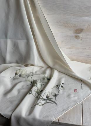 Винтажный китайский платок шелк