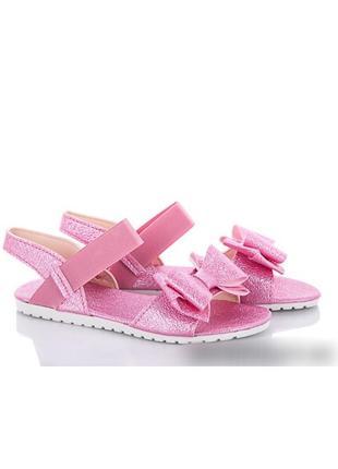 Розовые босоножки на резинке сандали с бантом