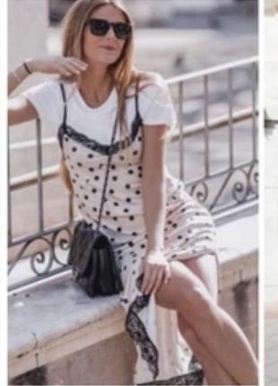 Zara платье в горох в бельевом стиле с кружевом на брительках zara asos h&m primark atmosphere amisu