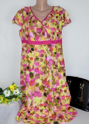 Брендовое яркое нарядное платье per una турция лен принт абстракция этикетка