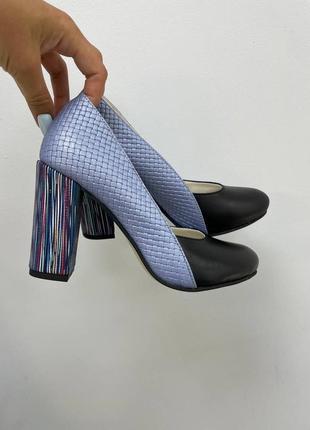 Шикарні шкіряні туфлі круглий носик кожаные туфли