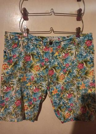 Джинсовые шорты с карманами,в цветочный принт,большого размера,janina
