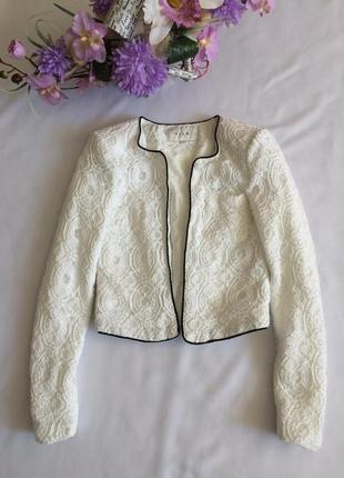 Пиджак жакет белый кружево короткий
