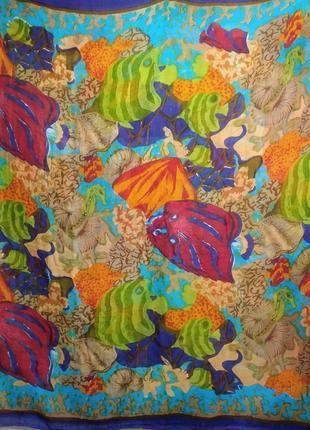 Коттоновый шарф, парео, ручная роспись