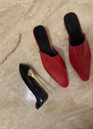 Мюли мюлли сабо туфли лаковые лак красные чёрный