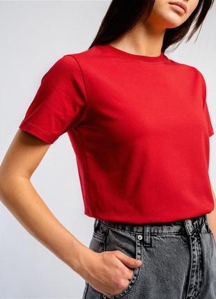 Женская однотонная футболка базовая, женская стильная трикотажная футболка кулир (чёр бел беж красный)