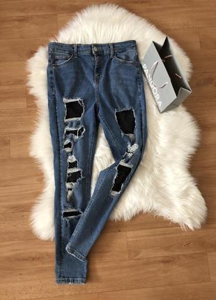 Джинсы джинси с дырками рваностями высокая посадка талия skinny скинни