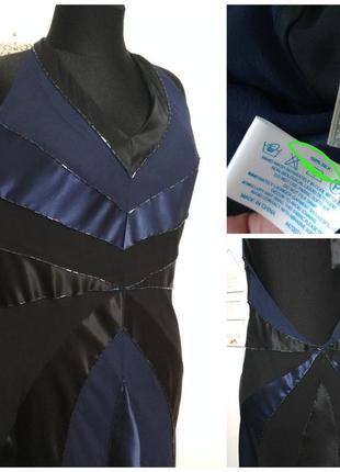 Роскошное винтажное вечернее полностью 100% шёлк платье миди с вышивкой и открытой спиной