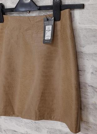 Кожаная юбка.  юбка из эко кожи с теснение под рептилию