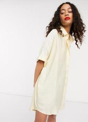 Базовое персиковое 🍑 платье-рубашка свободного кроя (оверсайз), пляжное платье