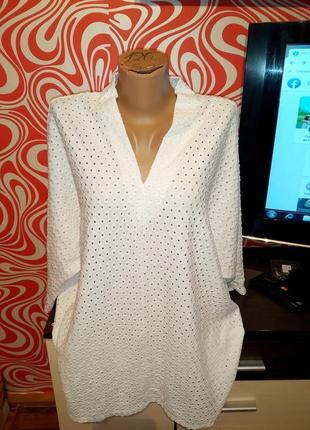 Белая нарядная батальная блуза,свободная,в дырочку,стильная