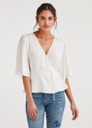 Белая блуза на запах топ с v-образным вырезом объемные рукава блузка с широкими рукавами