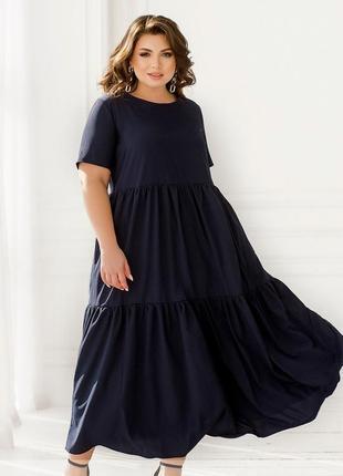 На лето легкое платье-сарафан свободный крой размеры 52-54/56-58/60-62/64-66 (259)