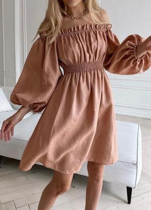 Платье с объемными рукавами лёгкое летнее повседневное приталенное на резинке с открыты плечами короткое выше колена свободное юбка широкая