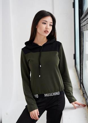 Акция! стильная молодежная кофта цвета хаки с черным капюшоном, 8 разных цветов, женская худи