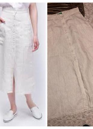 Полосатая льняная юбка benetton.