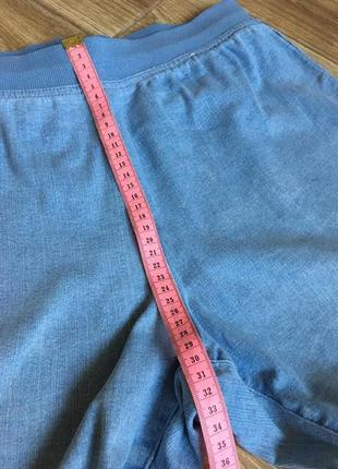 Джинсы голубые свободного кроя, высокая посадка на резинке, большой размер8 фото