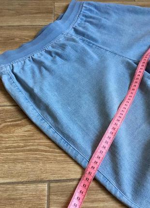 Джинсы голубые свободного кроя, высокая посадка на резинке, большой размер6 фото
