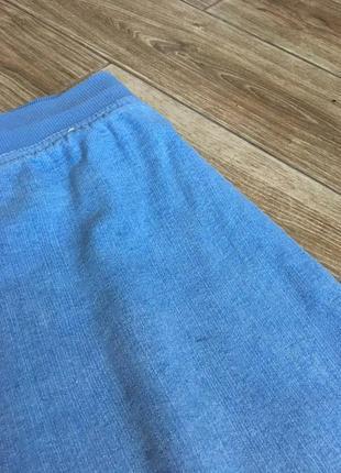 Джинсы голубые свободного кроя, высокая посадка на резинке, большой размер4 фото