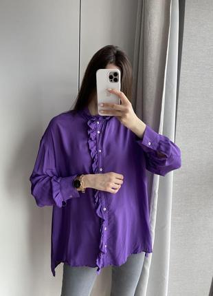 Фиолетовая, яркая рубашка zara