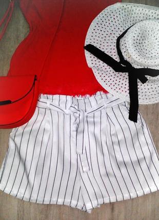 Белые шорты в полоску с завышенной талией, размер: 40 / l / 48